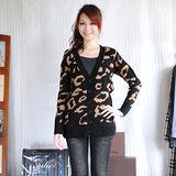【ZARA】百搭款V領排釦豹紋針織長版外套(深咖)