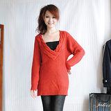 【H&M】性感大V編織領羊毛針織長版上衣(紅)