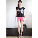 【H&M】俏麗亮眼熱帶涼夏質感線條短褲(粉紅)