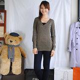 【ZARA】TRF時尚亮眼V領金葱長版針織衫(咖)