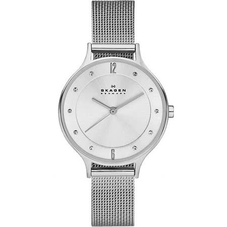 Skagen 美式時尚晶鑽米蘭女錶-銀 SKW2149
