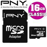 PNY 必恩威 microSDHC 16GB Class10 記憶卡(附轉卡) - 加送讀卡機