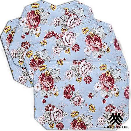 《M.B.H─玫瑰花園》純棉防潑水餐墊(藍)(4入)