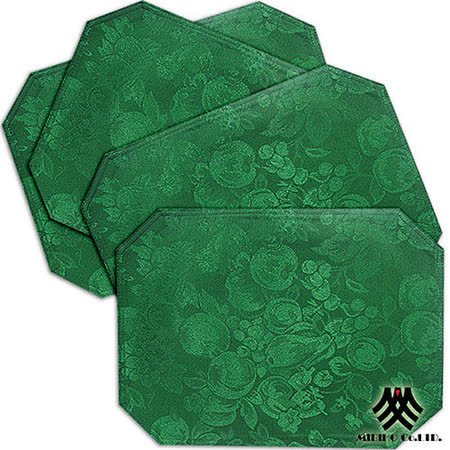 《M.B.H─水果花園》緹花防潑水餐墊(深綠)(4入)