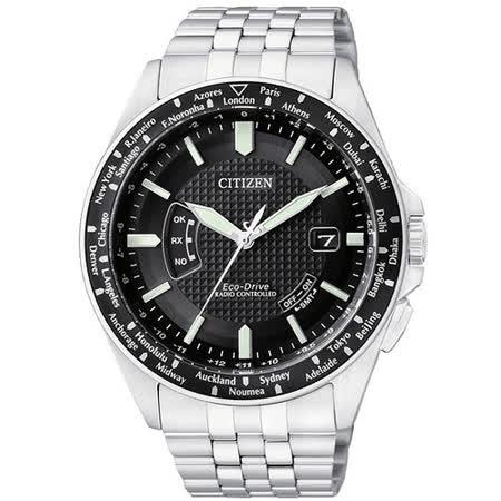 CITIZEN Eco-Drive 電波萬年曆腕錶-黑/銀 CB0027-51E
