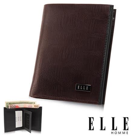 ELLE HOMME 橫式短夾 -鱷魚皮壓紋系列、證件層/鈔票/證件夾層/名片設計短夾-咖啡EL81776-45