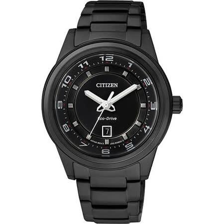 CITIZEN Eco-Drive 時尚都會三針女錶-IP黑 FE1104-55E