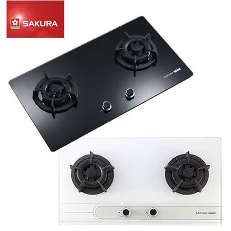 SAKURA櫻花 雙口玻璃檯面式安全瓦斯爐 G-2522G (天然瓦斯NG1)