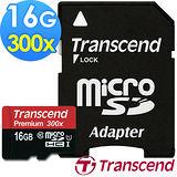 創見 Transcend 16GB microSDHC Class10 UHS-I 300X 記憶卡(附轉卡)