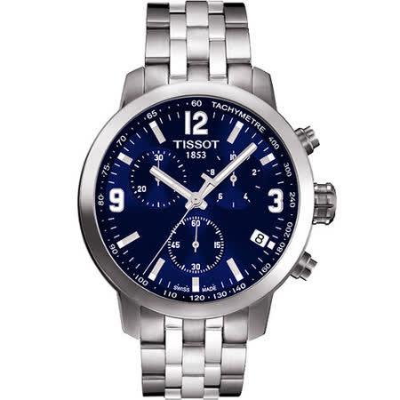 TISSOT PRC200 霸氣時尚三眼計時腕錶(藍/42mm) T0554171104700