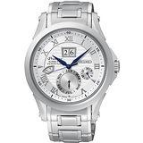 SEIKO Premier 萬年曆人動電能腕錶(銀/42mm) 7D48-0AL0B