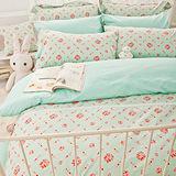 OLIVIA《蘇菲雅 綠》加大雙人床包枕套三件組
