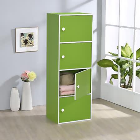 【空間生活】四層門櫃(綠)