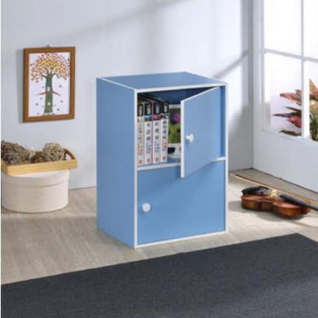 【空間生活】二層門櫃(藍)