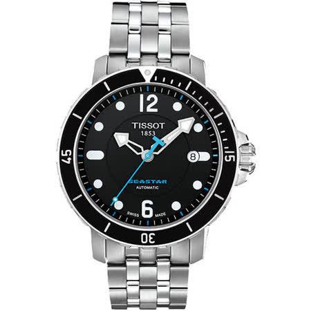 TISSOT Seastar 300米專業排氦潛水機械腕錶-黑/藍針/鋼帶 T0664071105700