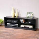《Homelike》個性時尚四格電視櫃-黑色木紋
