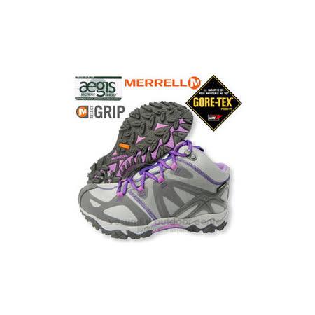 【美國 MERRELL】女新款 Grossbow Sport Mid Gore-Tex專業防水透氣中筒登山健行鞋.適野外探險.抗菌防臭味,排汗.避震 _灰/紫 ML 524646