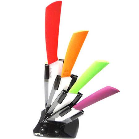 日本京都 馬卡龍4件式陶瓷刀+刮刨+刀架 JT-0401