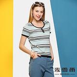 【麥雪爾】圓領基本款條紋針織短袖上衣(二色)