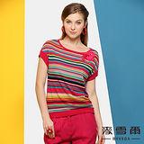 【麥雪爾】彩條紋立體花朵珠珠針織短袖上衣(二色)