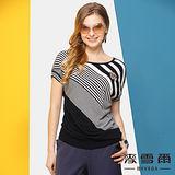 【麥雪爾】自然時尚胸章顯瘦斜條紋針織上衣(二色)