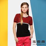 【麥雪爾】優雅蝴蝶結橫條紋針織短袖上衣(二色)