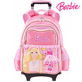 芭比Barbie 魔力甜心學生拉桿書包-粉紅