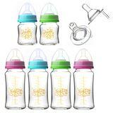 貝喜力克 防脹氣高耐熱寬口徑玻璃奶瓶組(4大2小)