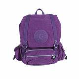 【Kipling】比利時品牌 探險活寶 大旅者束口後背包 冰晶紫 K-373-5057-646