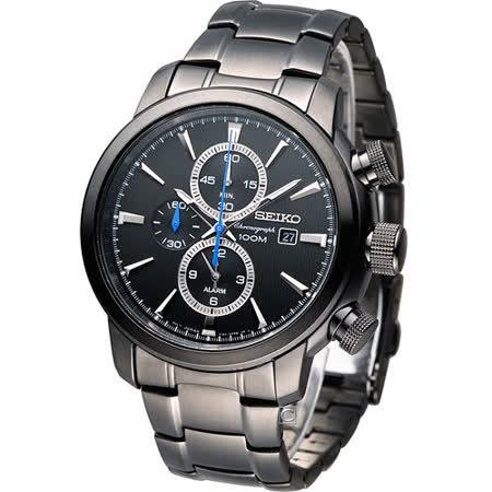 SEIKO 鷹眼大錶徑多功能鬧鈴腕錶 7T62-0LG0SD SNAF49P1