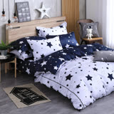 OLIVIA 《星晴 灰藍》加大雙人床包被套組