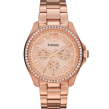FOSSIL Cecile 羅馬時尚日曆晶鑽腕錶-玫塊金 AM4483