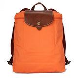 Longchamp Le Piage拉鍊尼龍輕巧後背包-橘色