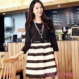 預購【CHACO韓國】經典復古黑白條紋裙擺七分袖連身洋裝CLEA-O-26(黑色M/L)