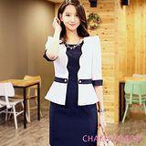 預購【CHACO韓國】氣質女主播配色假兩件五分袖連身洋裝CLEA-O-19(白色M/L)