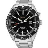 SEIKO Kinetic 關鍵時刻經典腕錶-黑x銀 5M82-0AH0D