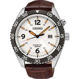 SEIKO Kinetic 關鍵時刻經典腕錶-銀x咖啡 5M82-0AJ0S