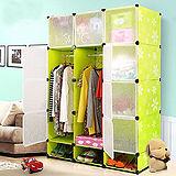 12門加深全掛式煥彩PP組合衣櫥櫃(綠色)