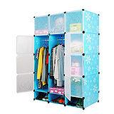 12門加深全掛式煥彩PP組合衣櫥櫃(藍色)
