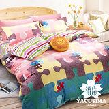 【濱川佐櫻-趣味拼圖】單人三件式精梳棉兩用被床包組