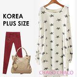 預購【CHACO PLUS韓國】韓製STAR滿版星星連身長版針織衫1047 (2色L-XXL)