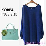 預購【CHACO PLUS韓國】韓製隨性簡雅寬鬆蝙蝠袖長版衫0227(寶藍色XL-XXL)