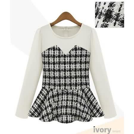 【韓系女衫】 圓領針織拼接假兩件式上衣 (二色可選)
