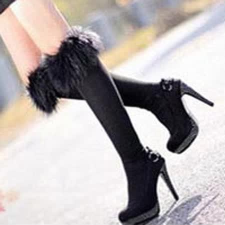 【PS Mall】日韓長毛仿皮草襪套秋冬毛襪子 中筒襪 (J876)