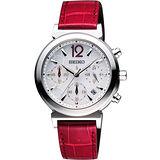 SEIKO LUKIA 太陽能甜美三眼計時碼腕錶-銀/紅 V175-0AJ0J