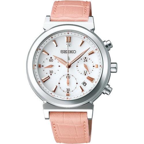 SEIKO LUKIA 太陽能甜美三眼計時腕錶 V175~0AJ0S
