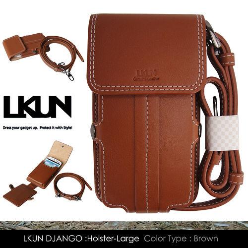 【韓國原裝潮牌 LKUN】三星 Note Note2 Note3 / LG G Pro 共用皮套 100%牛皮皮套㊣ 肩揹 腰掛 多功能卡片夾雅痞時尚手機保護套 (咖啡)