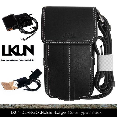 【韓國原裝潮牌 LKUN】三星 Note Note2 Note3 / LG G Pro 共用皮套 100%牛皮皮套㊣ 肩揹 腰掛 多功能卡片夾雅痞時尚手機保護套 (黑)
