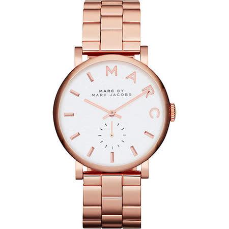 Marc Jacobs Baker 國際舞台小秒針腕錶-銀x玫塊金 MBM3244