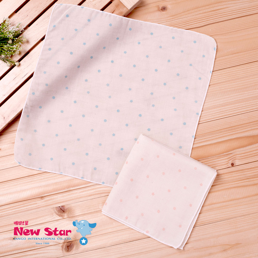 ~聖哥~明日之星Newstar~MIT 嬰兒100^%有機棉2層紗紗布巾(可愛水玉點點、3
